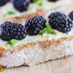 Honey Goat Cheese Toasts with Blackberries and Mint