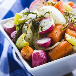 Small dish of roasted vegetable medley