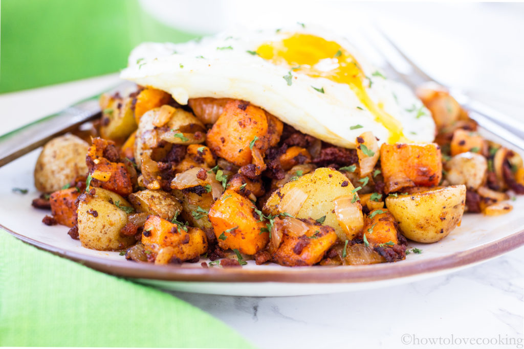 Sweet Potato and Chorizo Breakfast Hash - How to Love Cooking