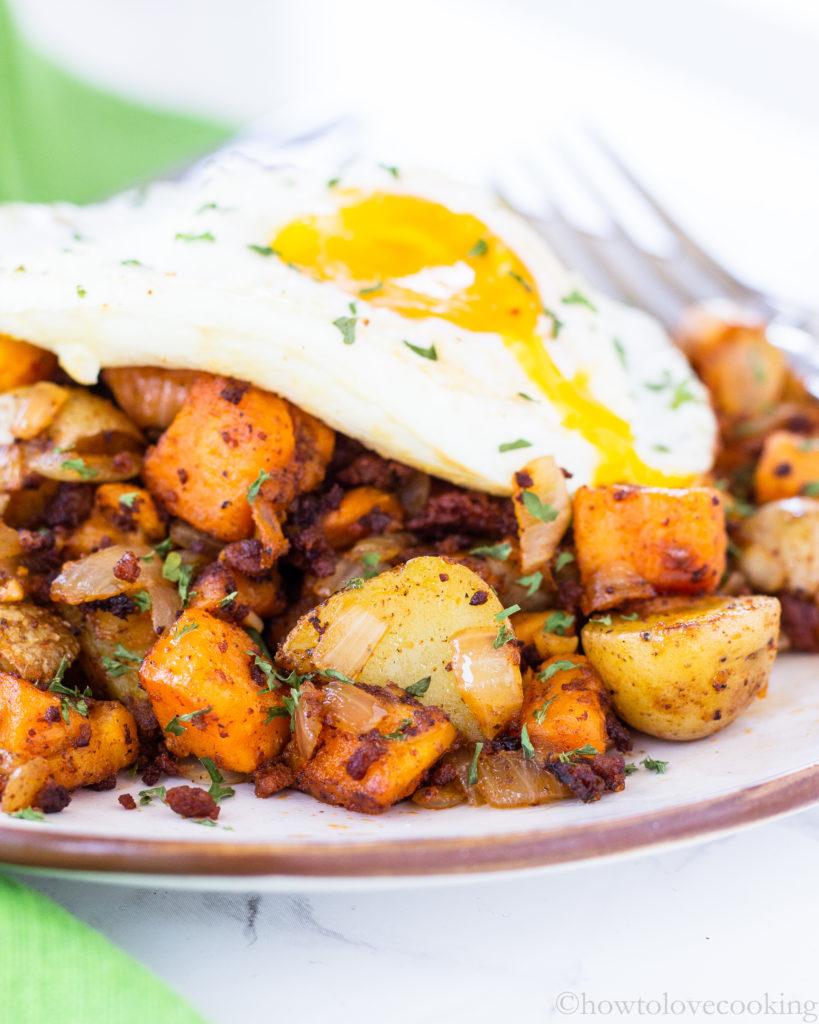Sweet Potato Chorizo Breakfast Hash - How to Love Cooking