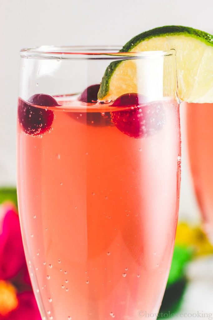 Christmas mocktail! Cranberry Hibiscus Ginger Lime Fizz