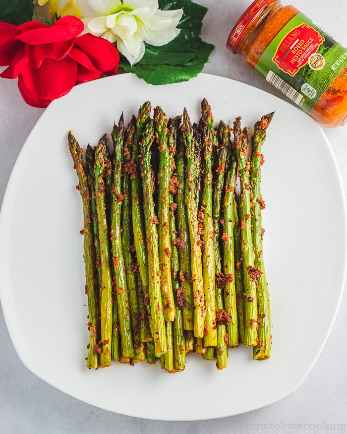 Simple Vegetable Side Dish! Roasted Asparagus with Red Pesto - festive for the holidays!