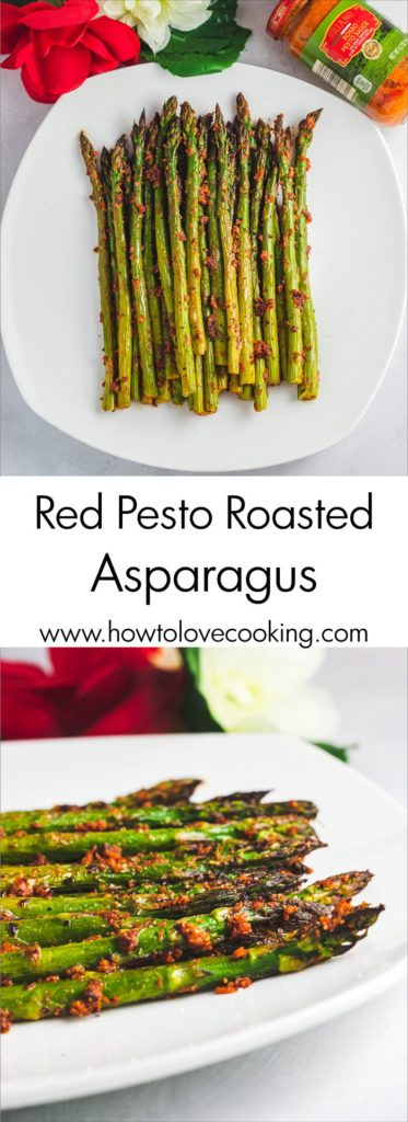 Red Pesto Roasted Asparagus Recipe is a festive side dish for the holidays and easy enough for the weeknight!