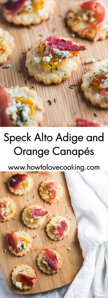 Elegant hors d'oeuvres! Speck Alto Adige and Orange Canapés