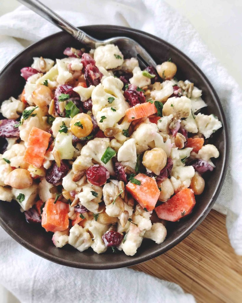 Cauliflower and Carrot Salad in a bowl
