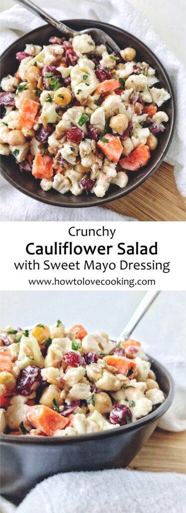 Pinterest pin image for cauliflower salad recipe